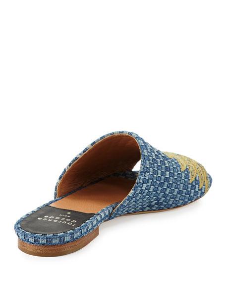 Nice Embroidered Denim Slide Sandals