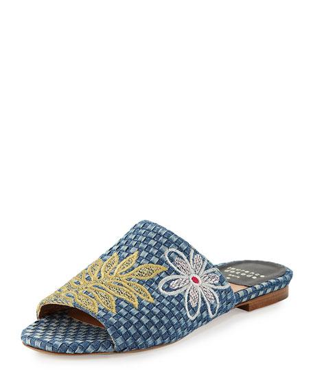 Laurence Dacade Nice Embroidered Denim Slide Sandals