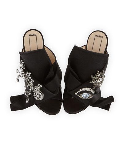 Jeweled Satin 100mm Mule Sandal, Black