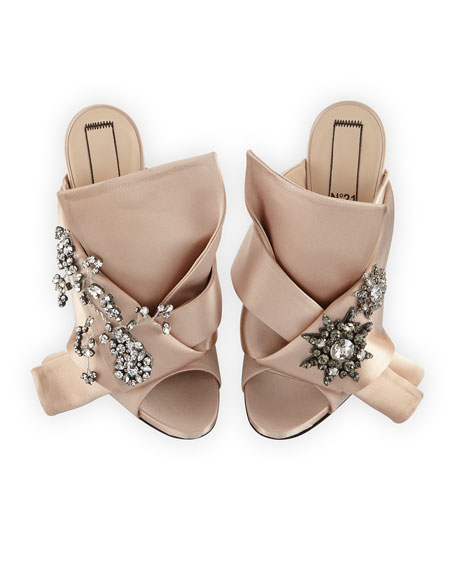 No. 21 Jeweled Satin 100mm Mule Sandal, Nude