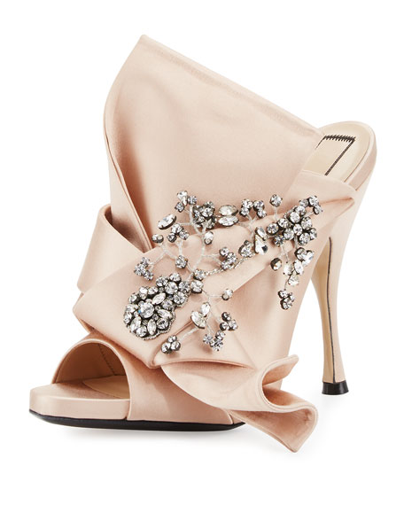 Jeweled Satin 100mm Mule Sandal, Nude