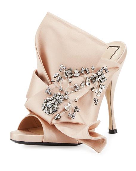 Jeweled Satin 100mm Mule Sandal, Nude