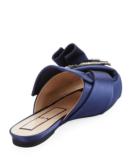Crystal Eye Satin Flat Slide Sandal
