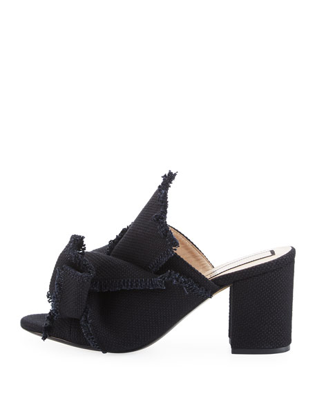 Frayed Canvas Block-Heel Mule Sandal, Black