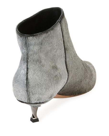 Twist Heel Low Fur Ankle Boots, Silver