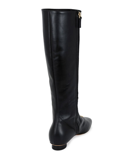 Grommet-Studded Leather Tall Boot, Black