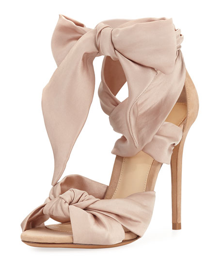 Katherine Knotted Satin & Suede Sandal, Neutral