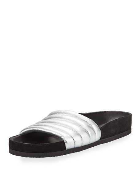 Isabel Marant HELLEAH LEATHER SLIDE SANDALS yaHCkmzj8