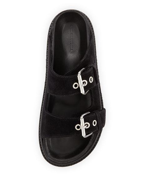 Ledkin Double-Buckle Slide Sandal, Black