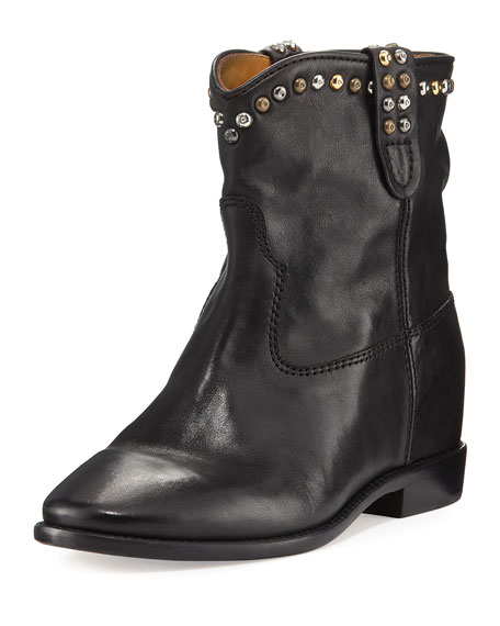 Cluster Hidden-Wedge Western Boot, Black