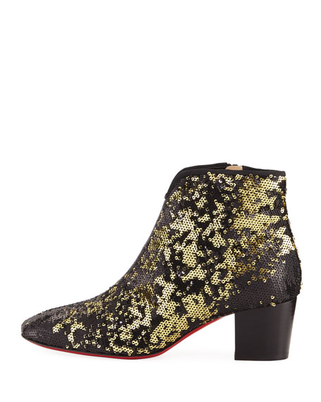 Disco Sequined Red Sole Bootie, Black/Gold