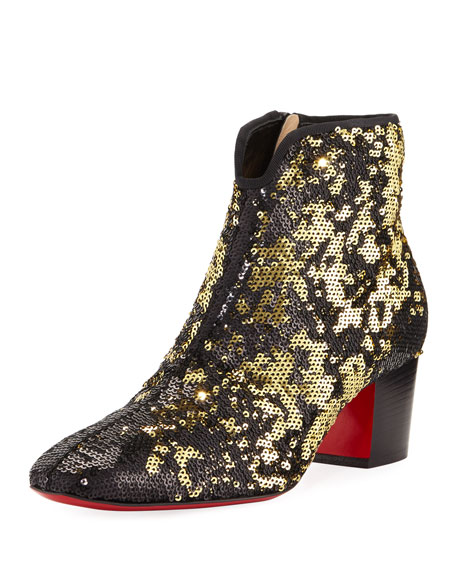 sale retailer ab906 300a5 Disco Sequined Red Sole Bootie Black/Gold