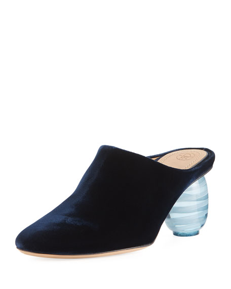 THE ROW Adela Velvet Mule Pump, Navy