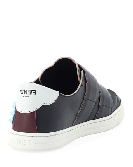 Fendi Embroidered Grip-Strap Sneaker, Black