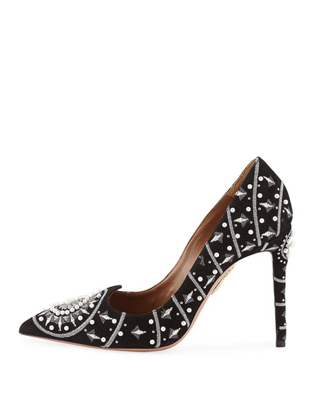 Stellar Pearly Suede Pumps, Black