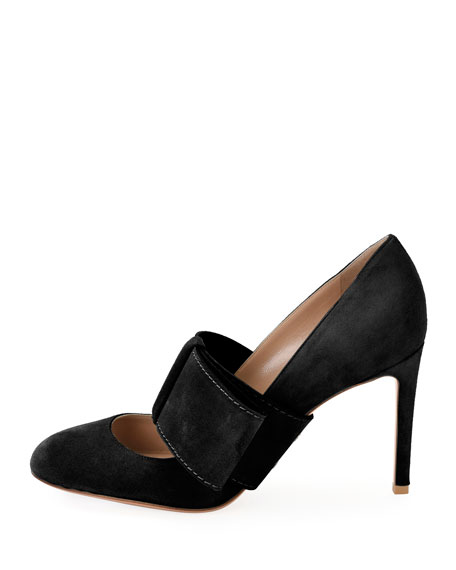 Suede Mary Jane Bow Pump