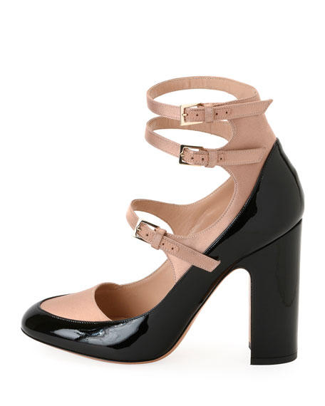 Two-Tone Mary Jane Buckle Pump, Black