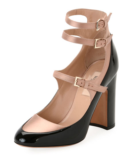 Valentino Garavani Two-Tone Mary Jane Buckle Pump, Black
