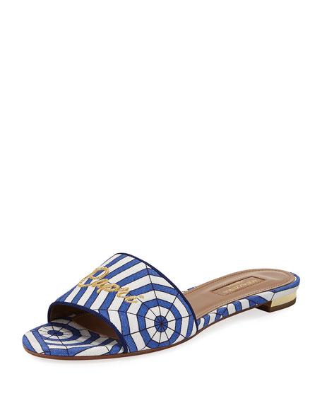 Capri Embroidered Flat Mule Sandal, Blue Pattern