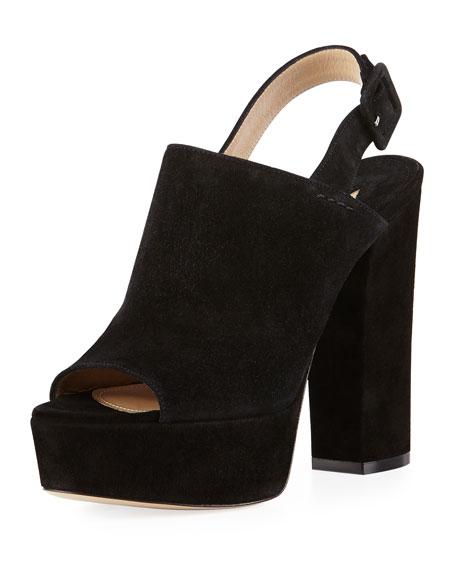 Senato Suede Slingback Platform Sandal, Black
