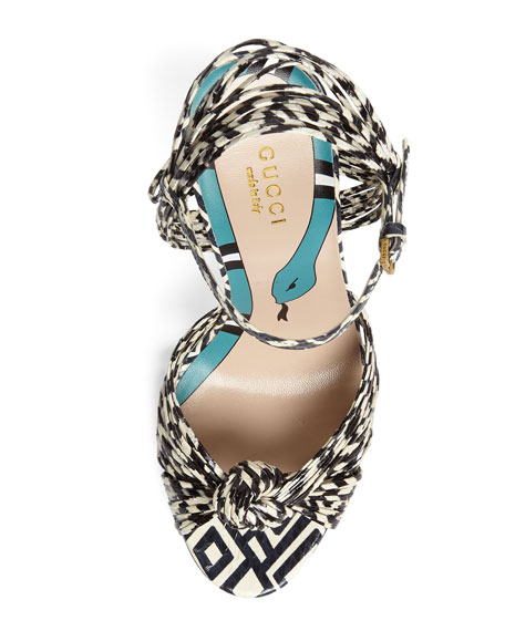 Allie Striped Leather Sandals, Black/White