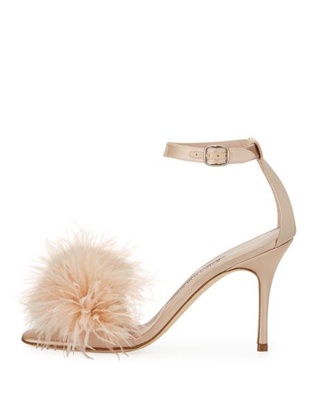 Plumas Feather-Embellished Sandal, Flesh
