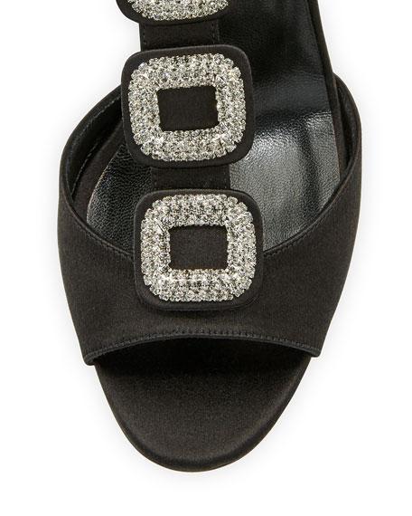 Suwny Satin Crystal Buckle Sandal
