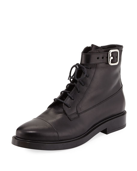 Tod's Lace-Up Leather Combat Boot, Black