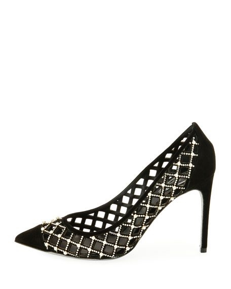 Caged Pearlescent Suede Pump, Black