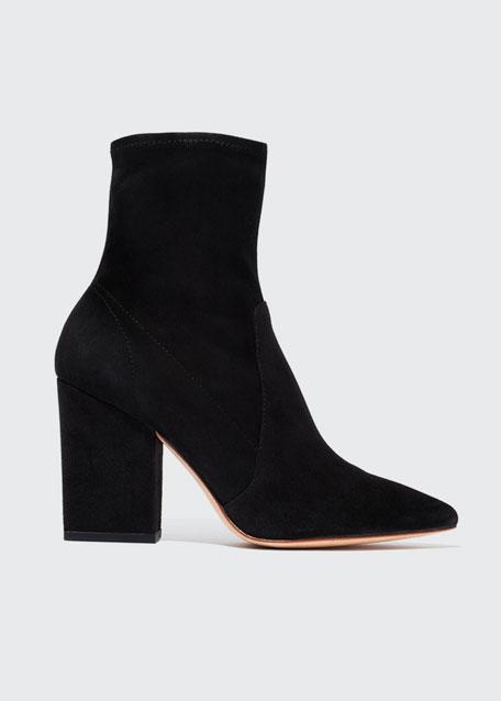 Loeffler Randall Isla Suede Chunky-Heel Boots, Black