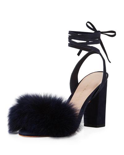 Nicolette Fur-Trim Ankle-Wrap Sandal