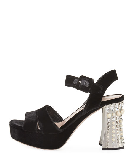 Pearly Studded Velvet Platform Sandal