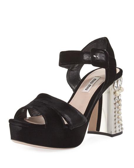 5856fe41930 Miu Miu Pearly Studded Velvet Platform Sandal