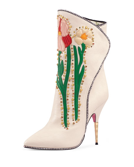 Fosca Floral-Embroidered Leather Boot