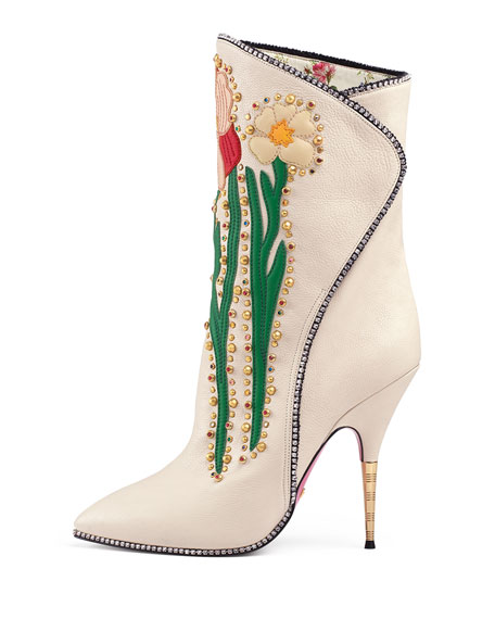 754f10e5b22 Gucci Fosca Floral-Embroidered Leather Boot