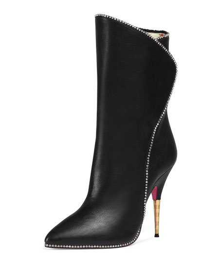 Fosca Leather Crystal-Trim Boot