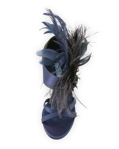 Feather-Embellished Satin 110mm Sandal