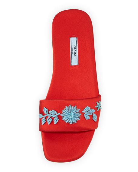 Beaded Satin One-Band Flat Slide Sandal