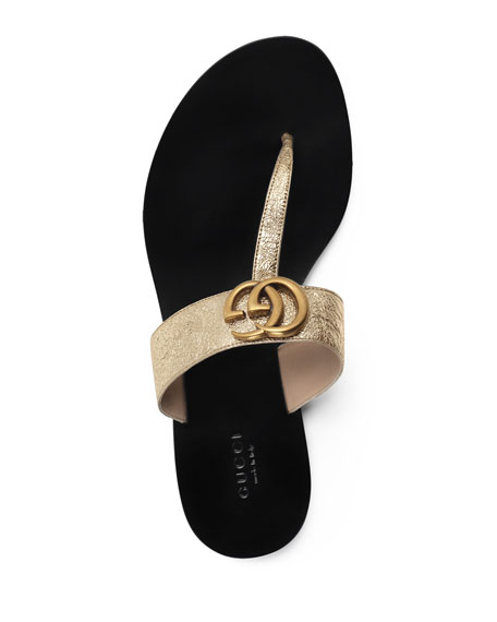 310b210ffbd Gucci Marmont Flat Metallic Leather Thong