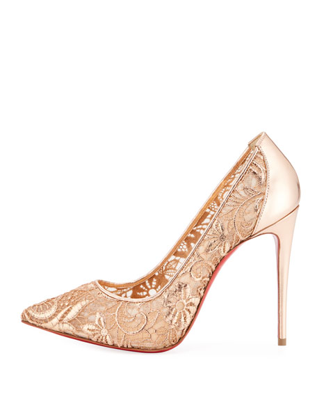 Follies Metallic Lace Red Sole Pump