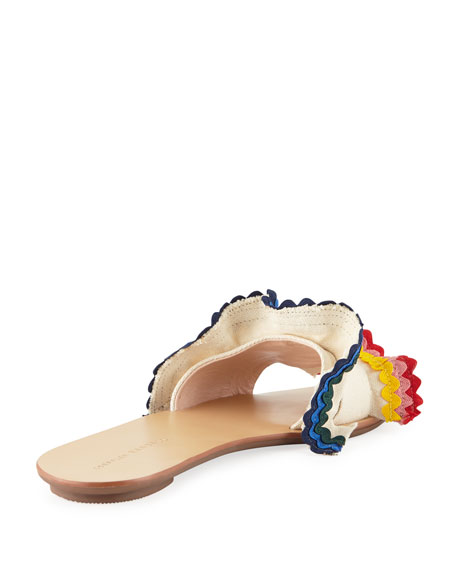 Birdie Flat Ruffled Canvas Slide Sandal