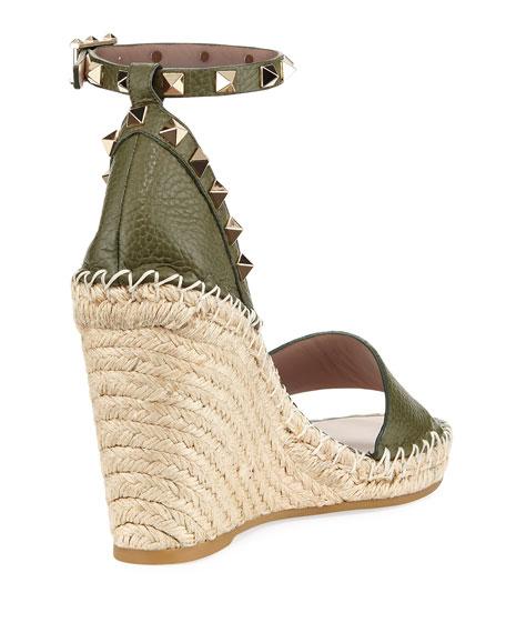 Rockstud Leather Espadrille Wedge Sandal