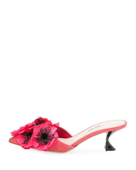 Floral-Embellished Satin Mule Pump