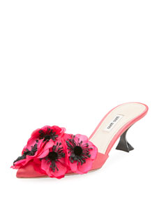 Womens Flower-Embellished Satin Mules Miu Miu 5ZgilU