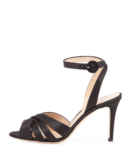 Strappy Satin Ankle-Wrap Sandal