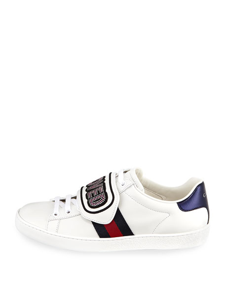 Jxh1WDwtBH Sneakers nappa leather metallic embroidery logo stripes jRy9nWLGF9