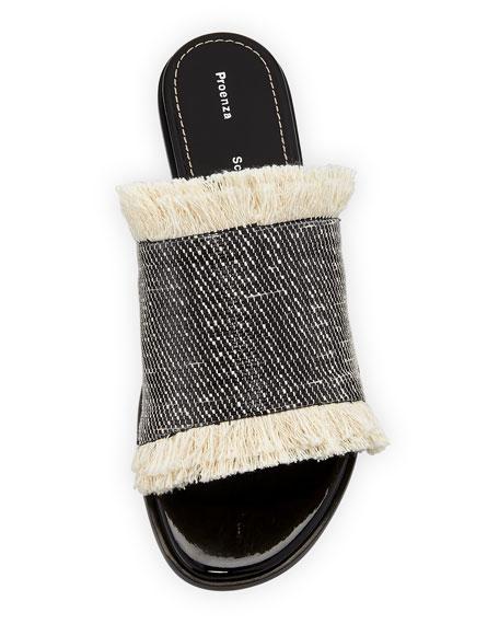 Fringed Canvas Mule Sandal