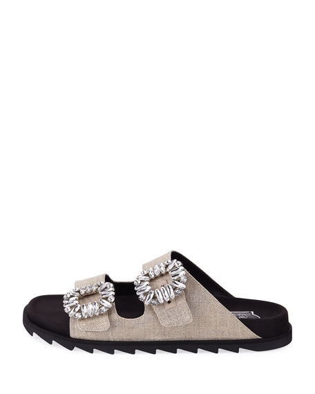 Slidy Viv Strass-Buckle Metallic Two-Band Slide Sandal