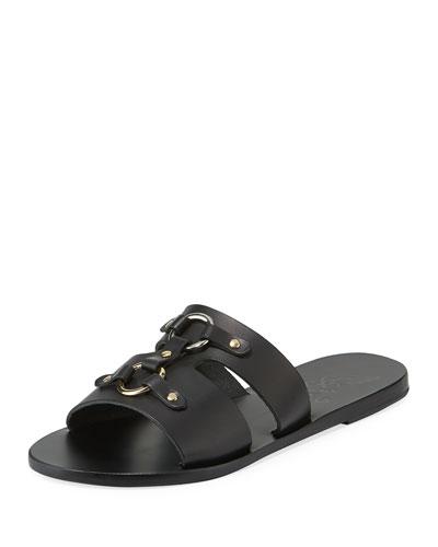 Attiki Flat Leather Slide Sandal