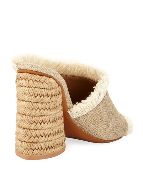 Izar Frayed Block-Heel Slide Sandal